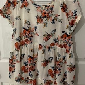 Womens Large Floral Printed Blouse- TARGET